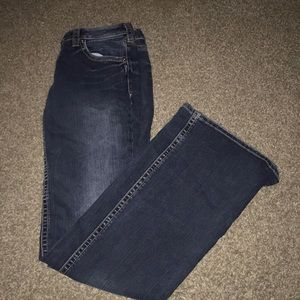 Dark wash silver jeans with flare xtra long